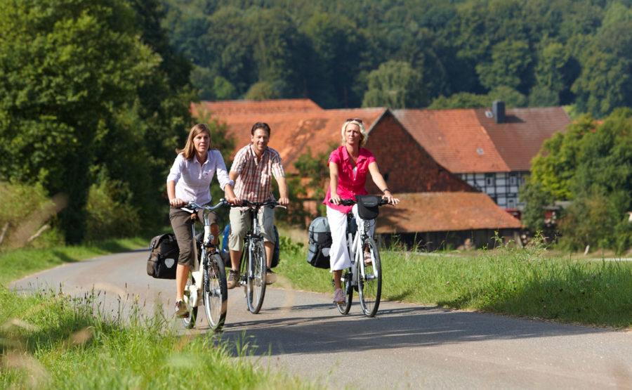 © Marcus Gloger - Deutscher Tourismusverband Skulpturenweg; Radfahrer in Landschaft